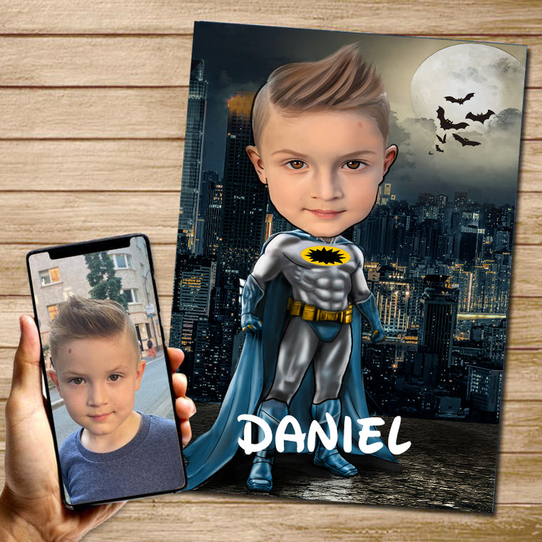 Personalized Hand-Drawing Kid's Photo Portrait Canvas Wall Art VI