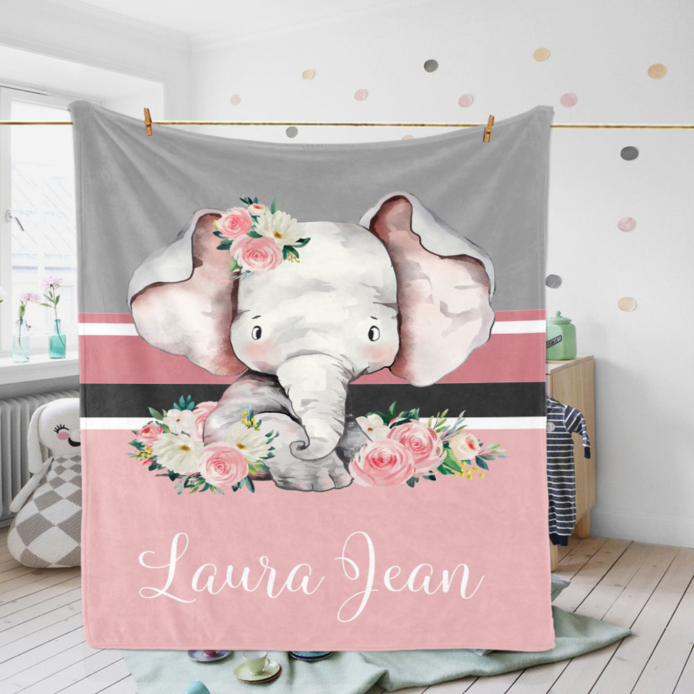 Custom Pink Gray Floral Elephant Baby Girl Blanket-BUY 2 SAVE 10%