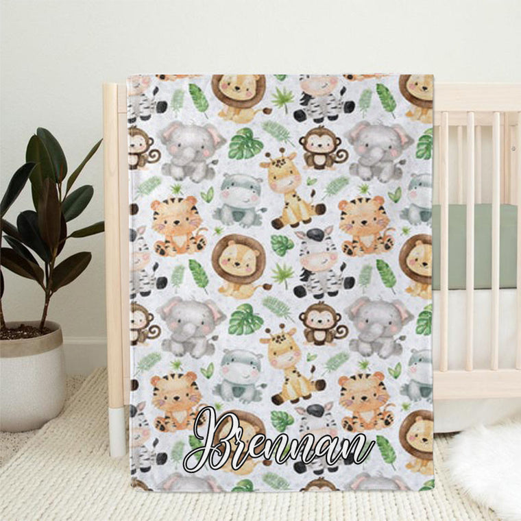 Personalized Safari Animal Baby Name Blanket, Custom Gender Neutral Baby Gift