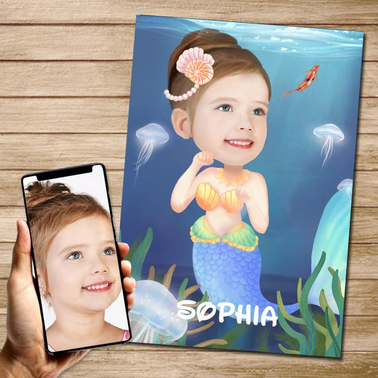 Personalized Mermaid Hand-Drawing Kid's Photo Portrait Canvas Wall Art I