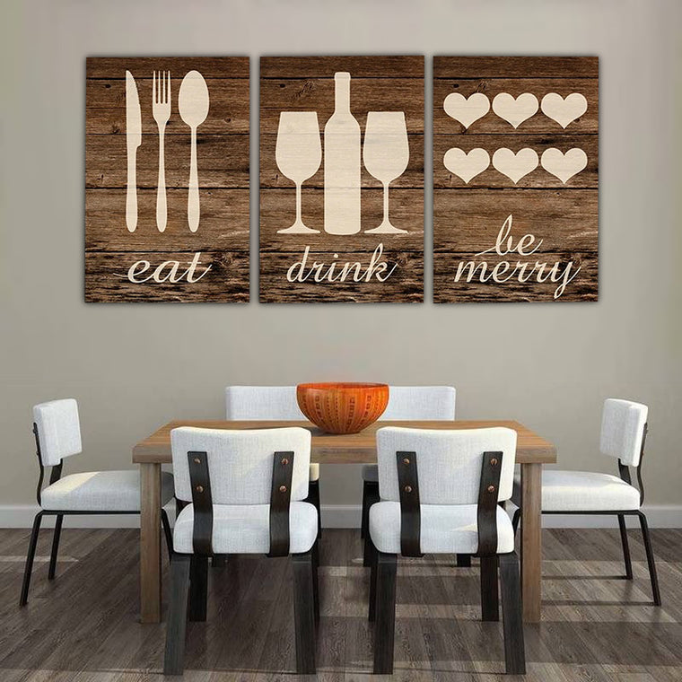 Eat Drink Be Merry Kitchen Canvas Art Set
