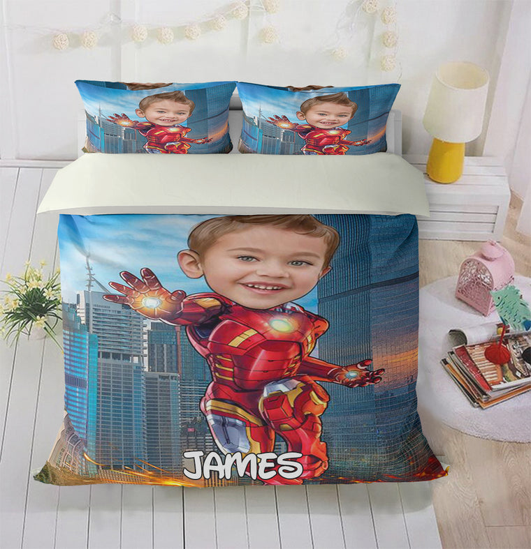 Personalized Hand-Drawing Kid's Photo Portrait Cozy Microfiber Bedding Set II
