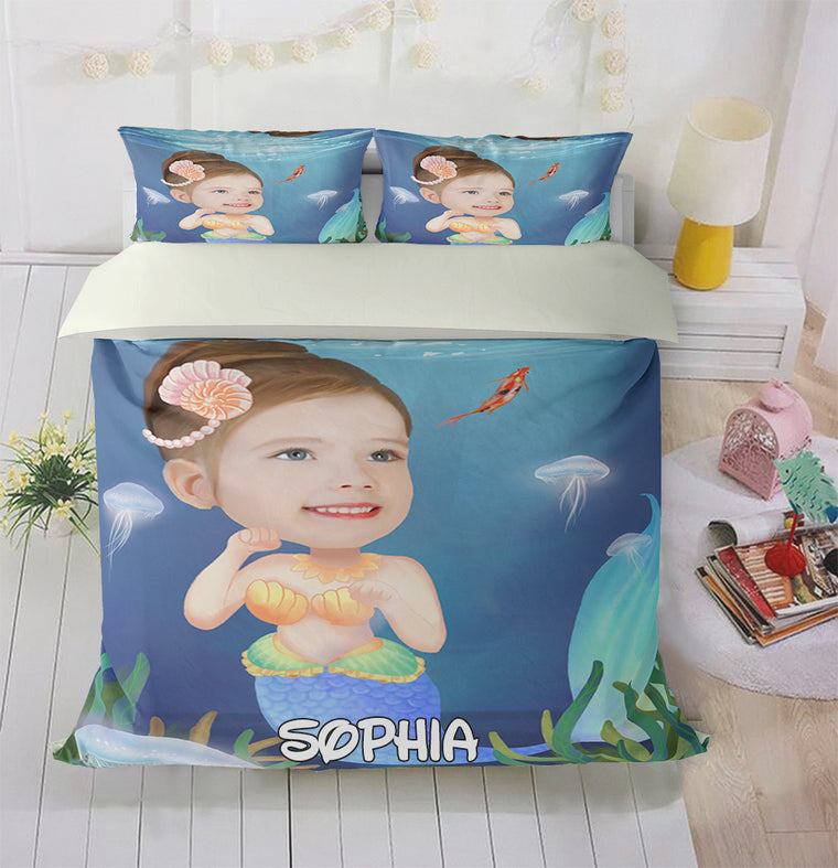 Personalized Hand-Drawing Kid's Photo Portrait Cozy Microfiber Bedding Set X