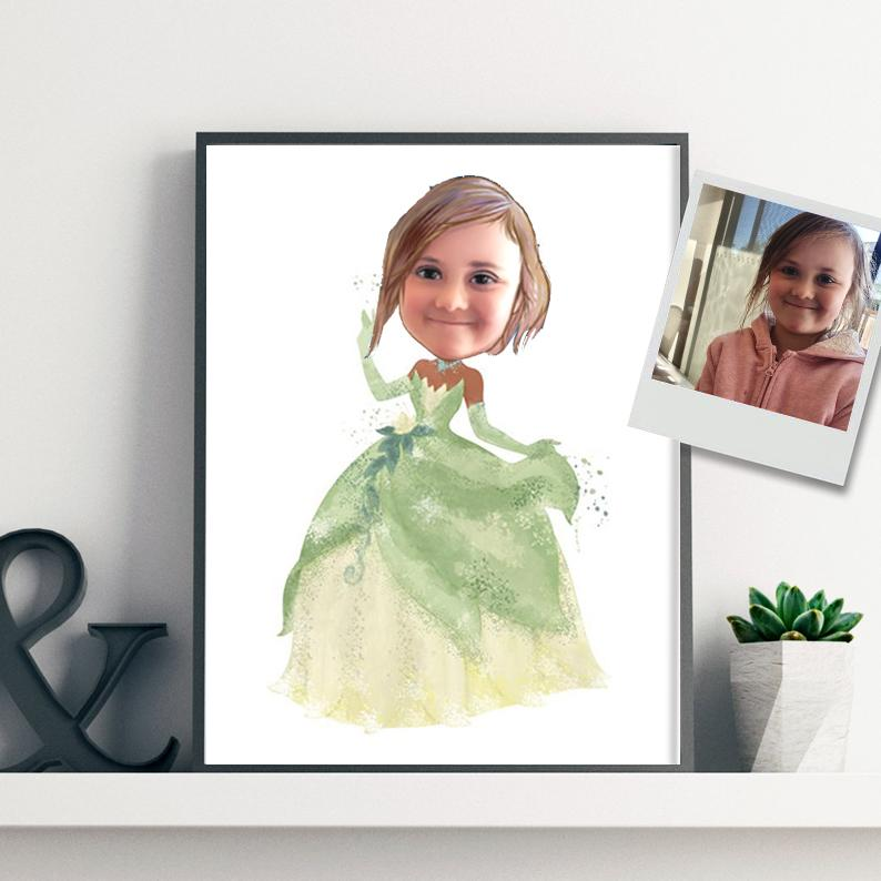 Custom Hand-Drawing Kid's Portrait Canvas Wall Art XIV
