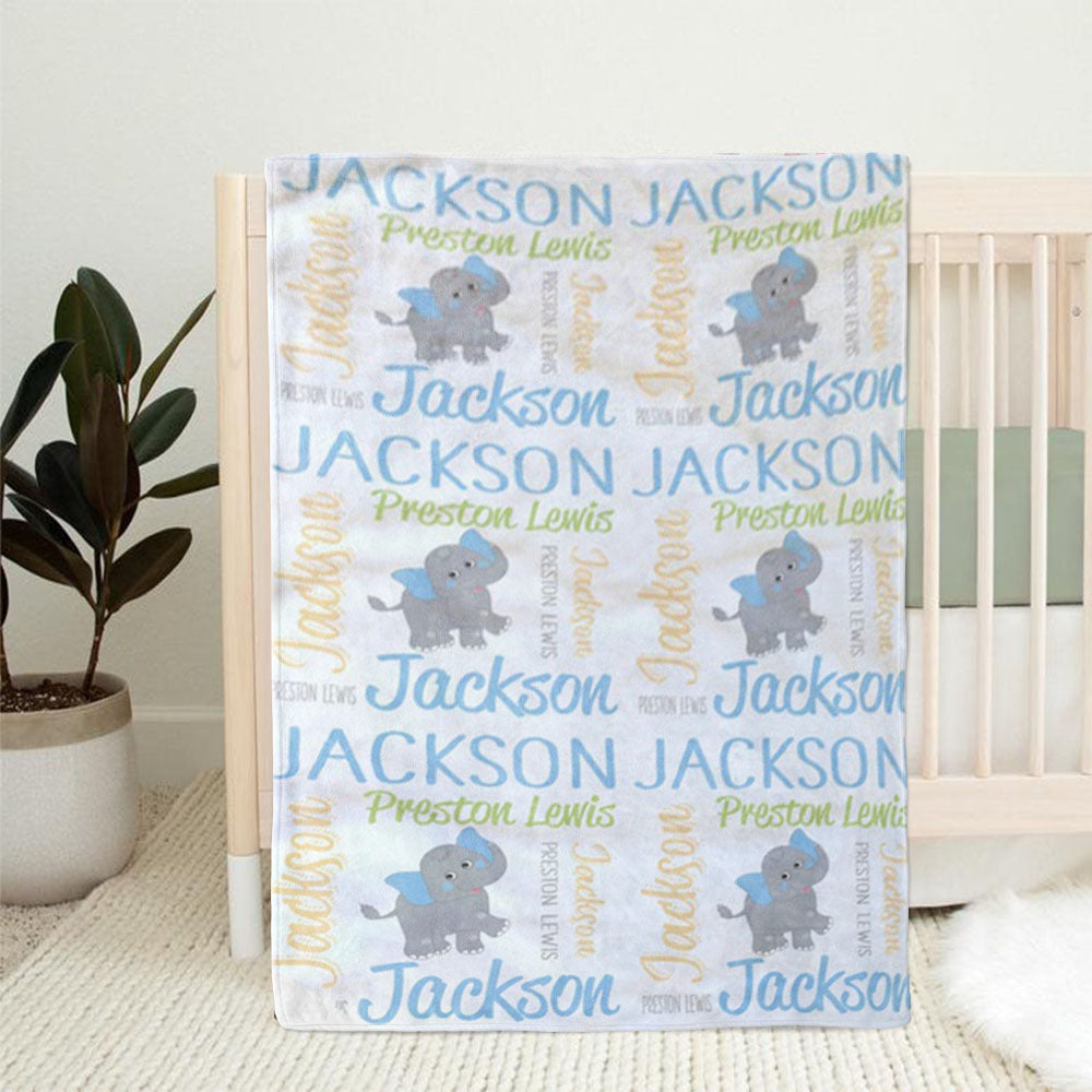 Personalized Elephant Newborn Baby Name Blanket, Custom Blanket for Baby Photo Prop