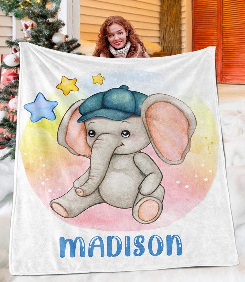 Custom ELEPHANT Name Blankets
