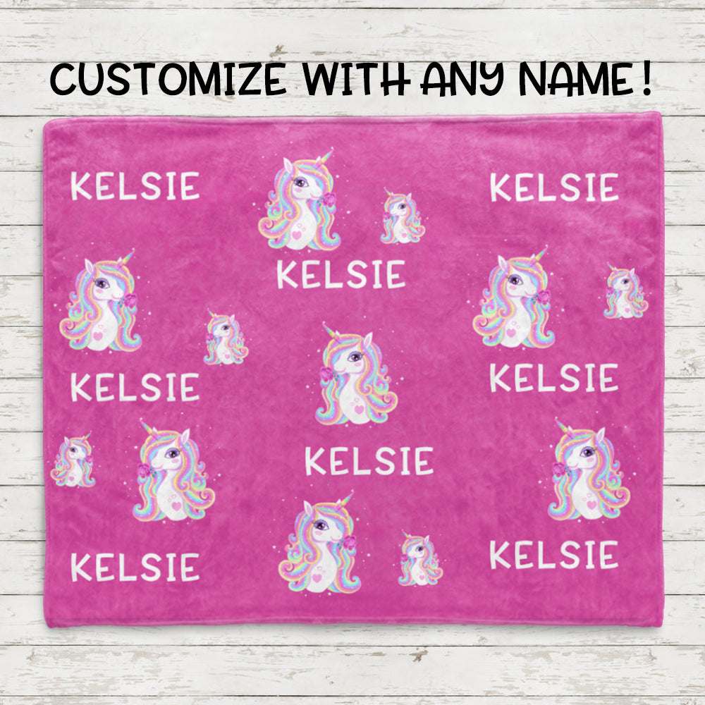 Custom Name Unicorn Blankets Passion Pink
