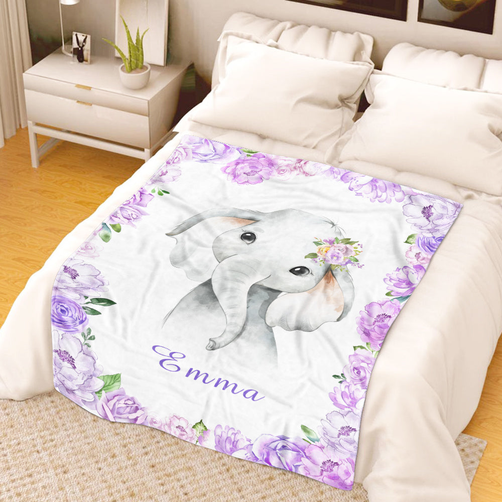 Personalized Name Baby Elephant Fleece Blankets with Pink Flowers