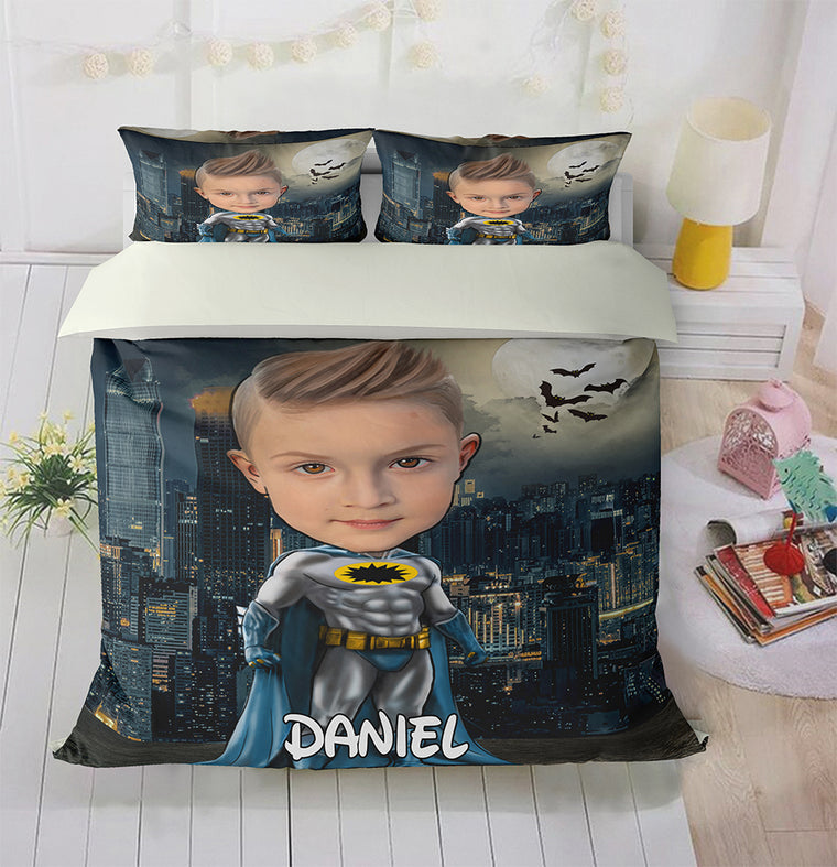 Personalized Hand-Drawing Kid's Photo Portrait Cozy Microfiber Bedding Set VII