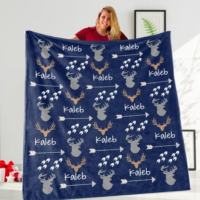 Custom Name Velveteen Plush Blanket for Boys IV - Made in USA