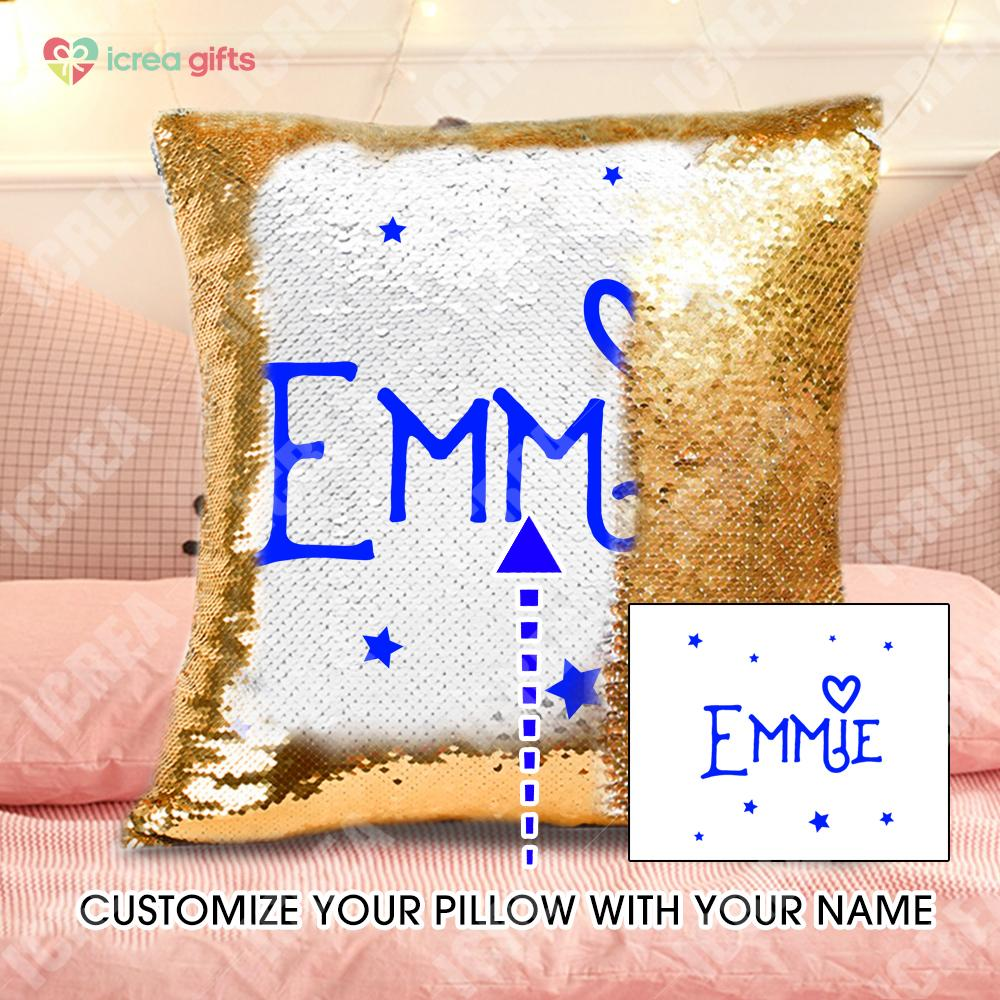 Personalized Sequin Name Pillow With Inner