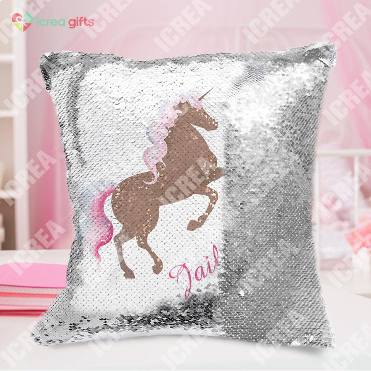 Personalized Galloping Unicorn Sequin Pillow