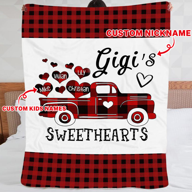 Custom Sweet Hearts CHRISTMAS BLANKET with Nickname & Kids Names