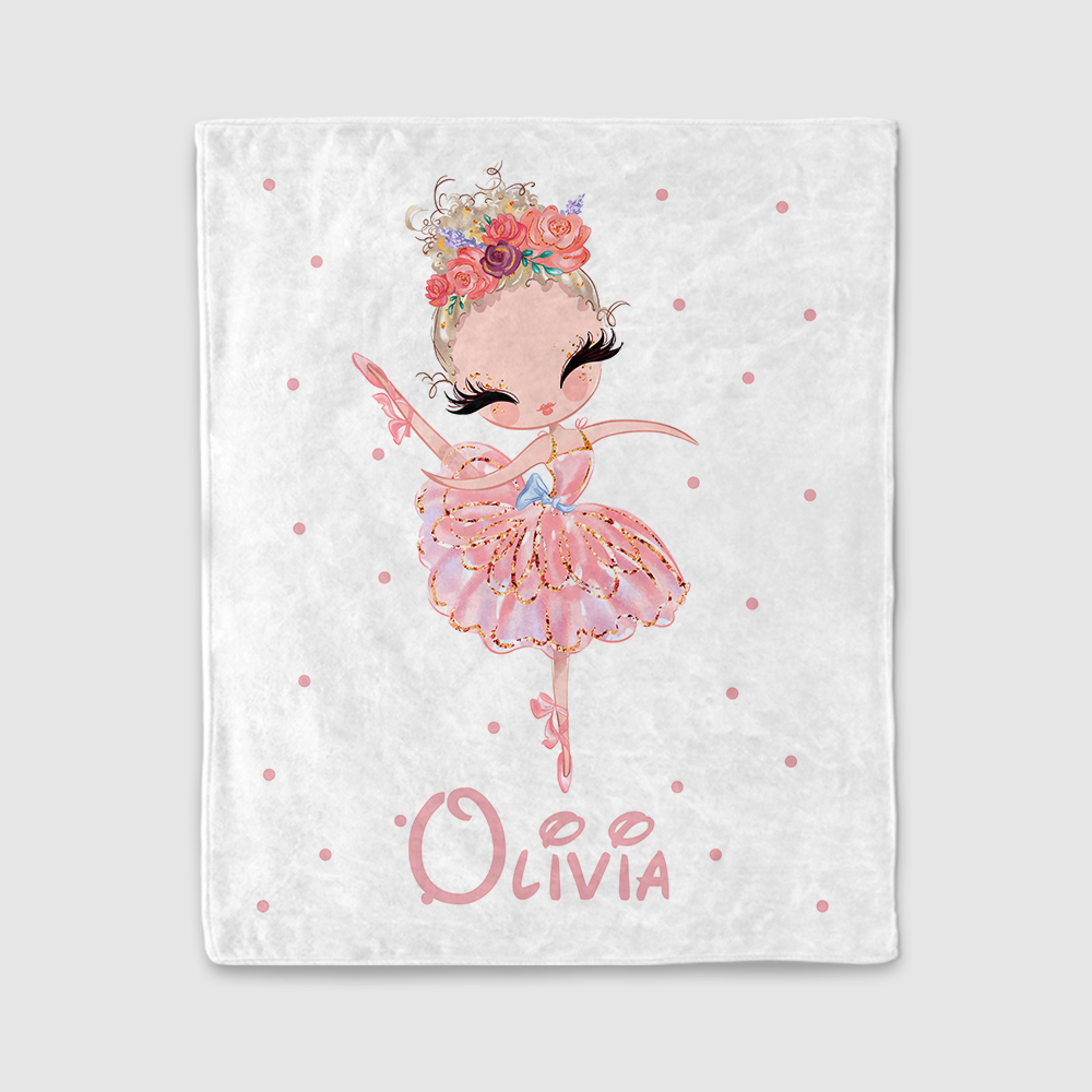 Personalized Name Dancing Girl Cozy Plush Fleece Blankets III - BUY 2 SAVE 10%