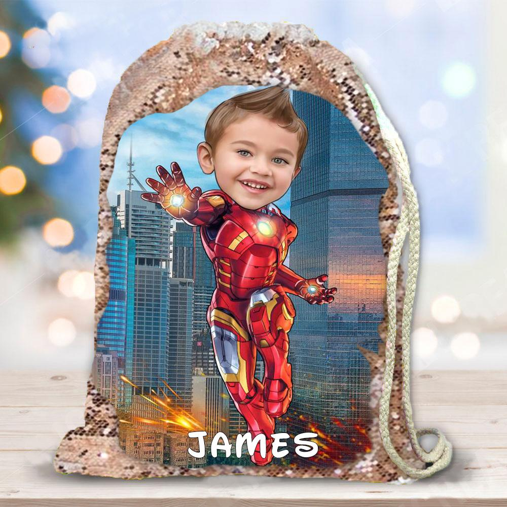 Personalized Hand-Drawing Kid's Portrait Sequin Drawstring Bag III-BUY 2 SAVE 10%