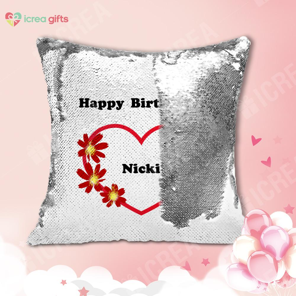 Personalized Happy Birthday Sequin Pillow With Inner