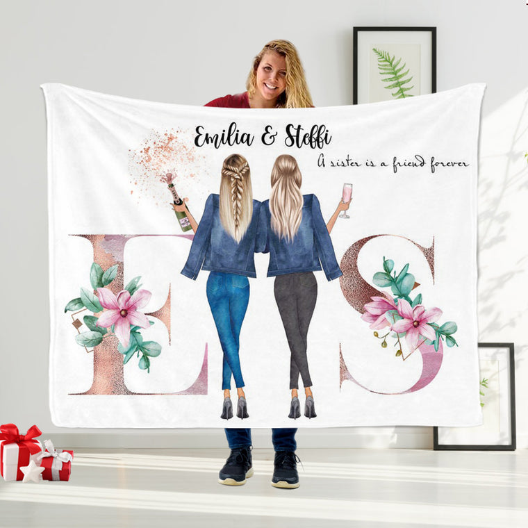 Custom Name Best Friend Blanket, Personalized Sisters Blanket III