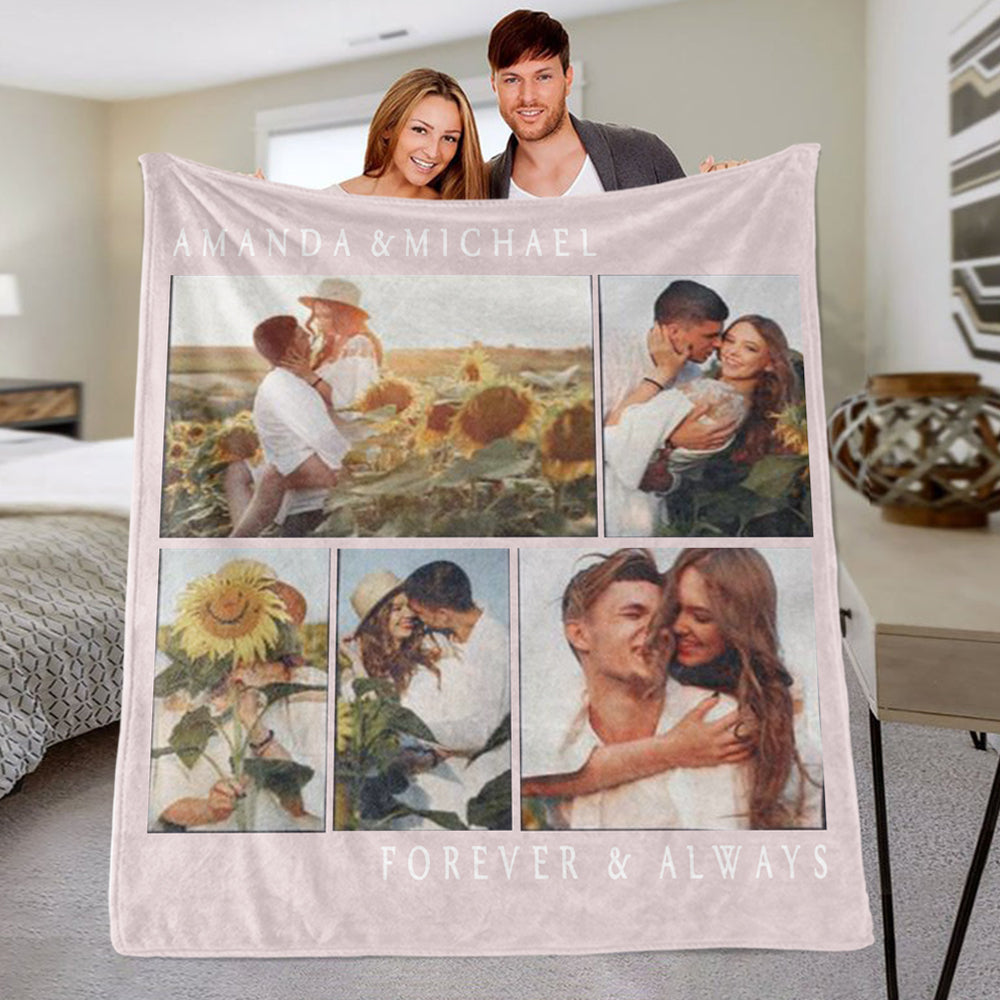 Personalized Forvever & Always Photo Fleece Blanket, Custom Valentine's Day Gift, Customized Wedding Anniversary Gift