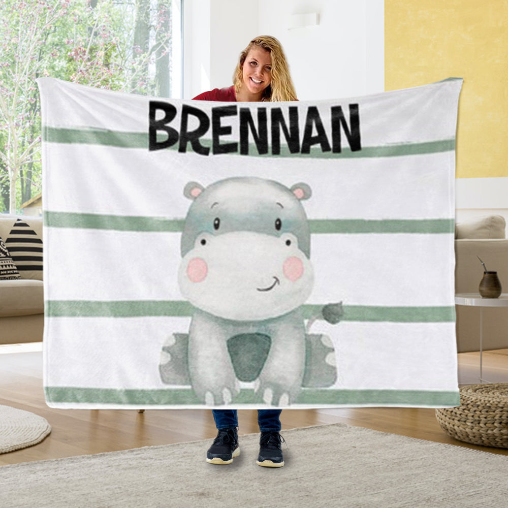 Personalized Hippo Baby Name Blanket, Custom Hippo Baby Gift