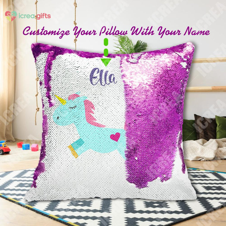 Personalized Adorable Unicorn Sequin Pillow With Inner
