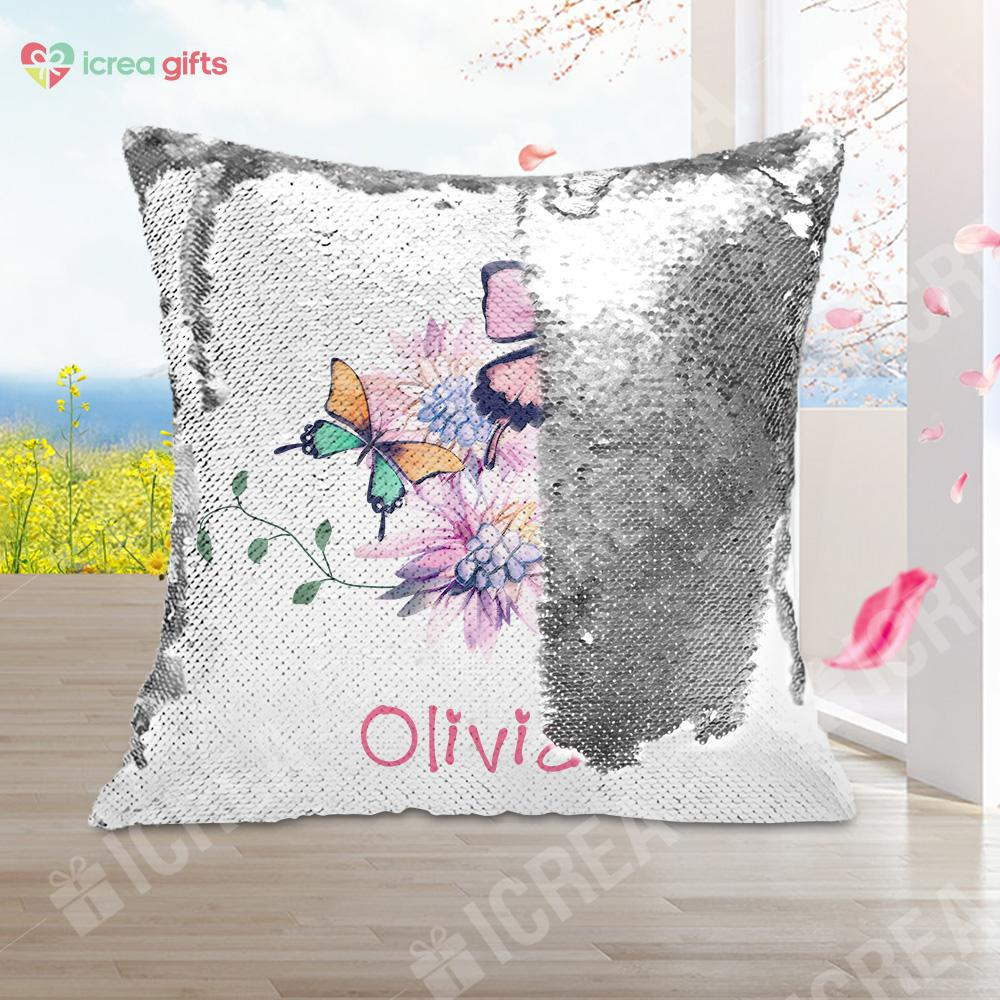 Personalized Butterflies and Flowers Sequin Pillow With Inner