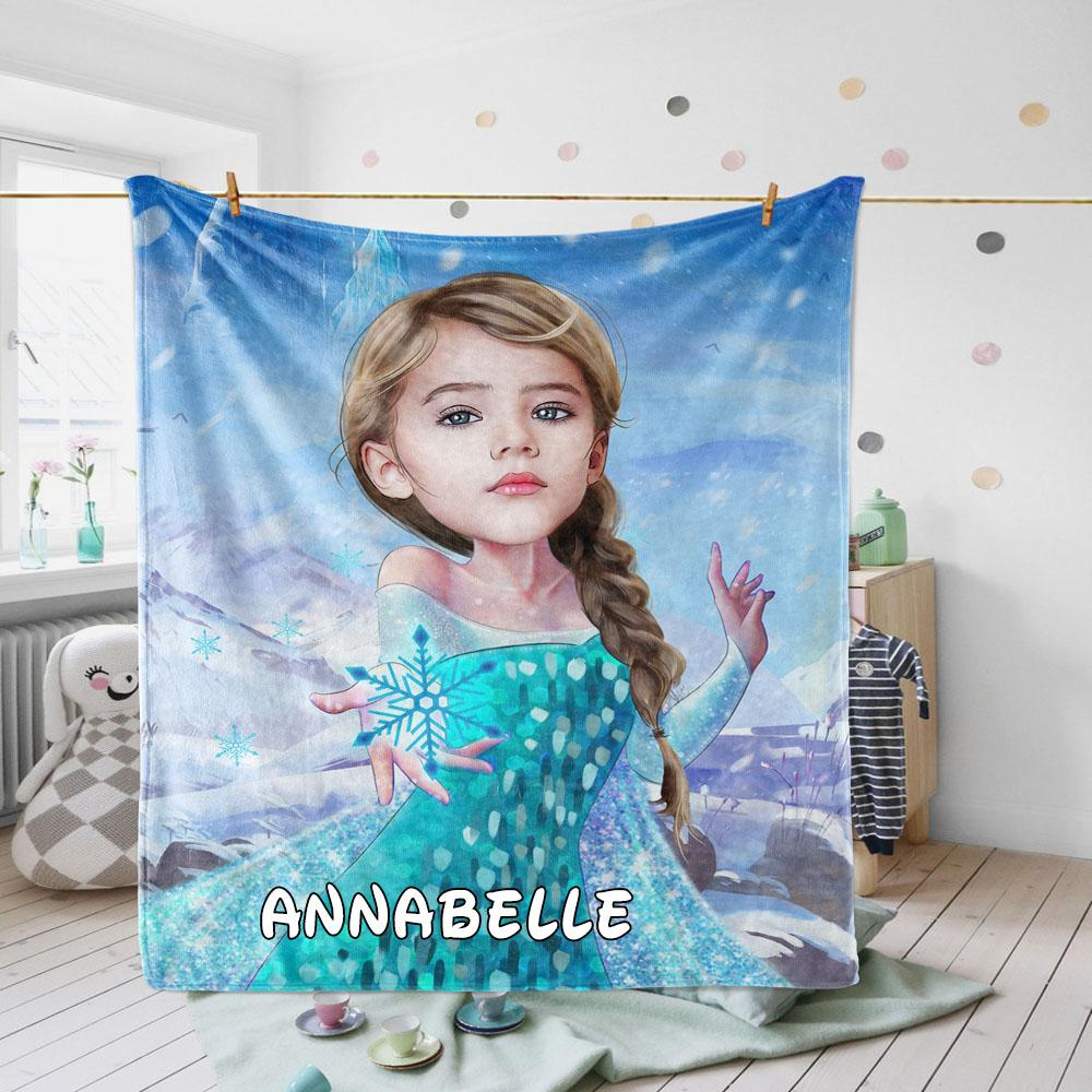Personalized Hand-Drawing Kid's Photo Portrait Velveteen Plush Blanket XX - Made in USA