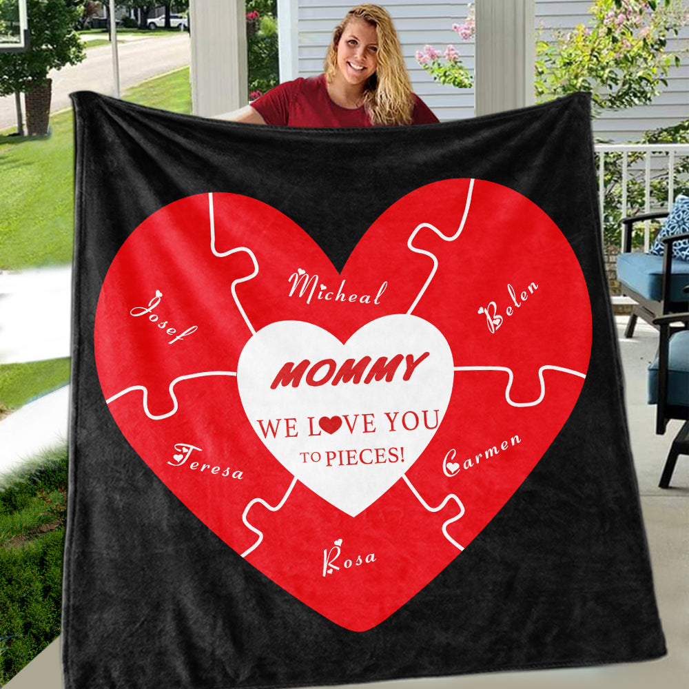 Love You To Pieces Custom Valentine's Day Blankets with Kids' Names