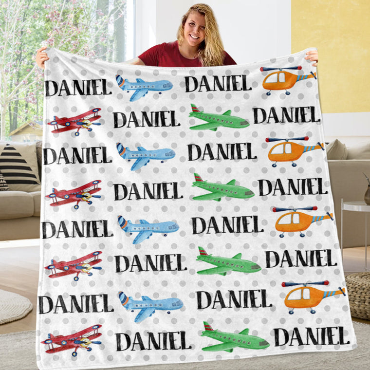 Personalized Name Transportation Fleece Blankets