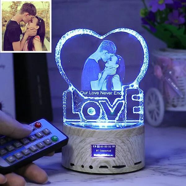 Custom Photo Crystal Lamp for Couples / Music Lamp with Rotating Base