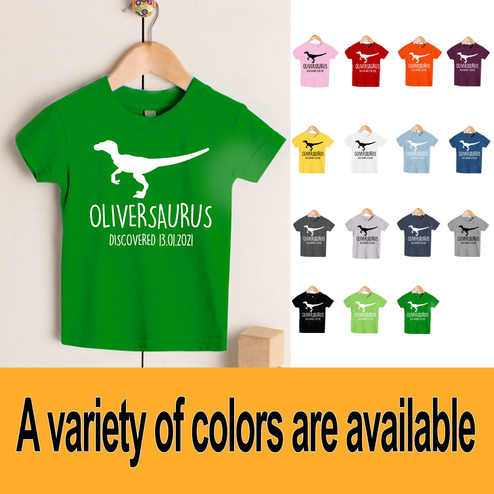 Personalised Velociraptor Kids Dinosaur T-Shirt, Birthday Gift for Your Children