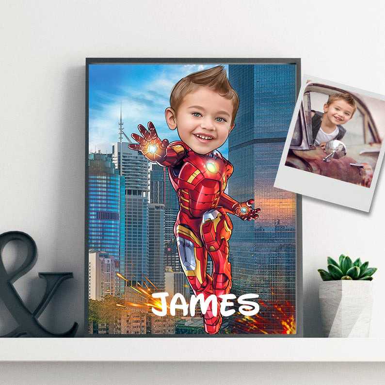 Personalized Hand-Drawing Kid's Photo Portrait Canvas Wall Art V