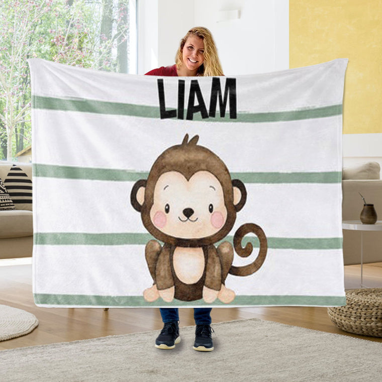 Personalized Monkey Baby Name Blanket, Custom Safari Baby Gift