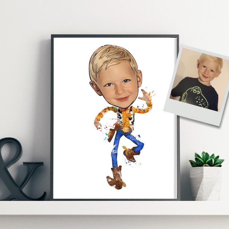 Custom Hand-Drawing Kid's Portrait Canvas Wall Art XI