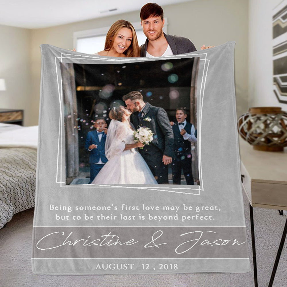 Personalized Anniversary Photo and Name Fleece Blanket, Custom Engagement Gift, Customized Bachelorette Party Bridal Shower Gift, Custom Wedding Gift
