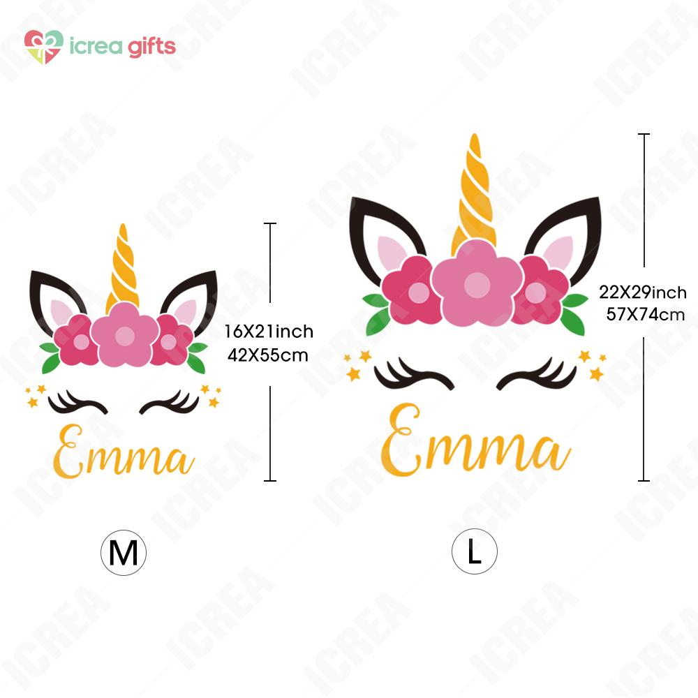 Personalized Floral Unicorn Wall Sticker