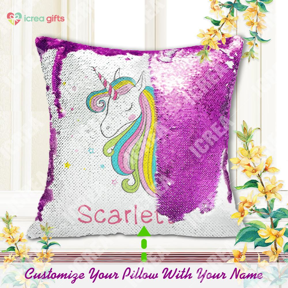 Personalized Unicorn Sequin Pillow With Colorful Stars (With Inner)
