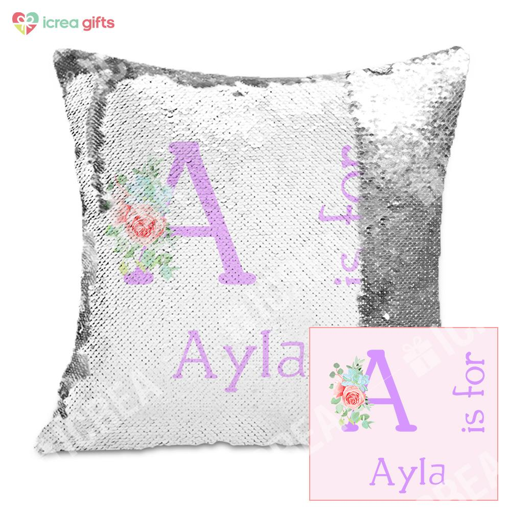 Personalized Sequin Pillow With Your Name & Initial (With Inner)