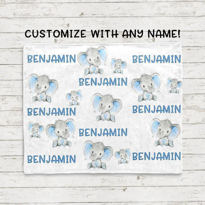 Custom Name Baby Elephant Velveteen Plush Blanket VII - Made in USA