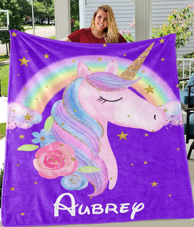 Custom Name Unicorn Cozy Plush Fleece Blankets X
