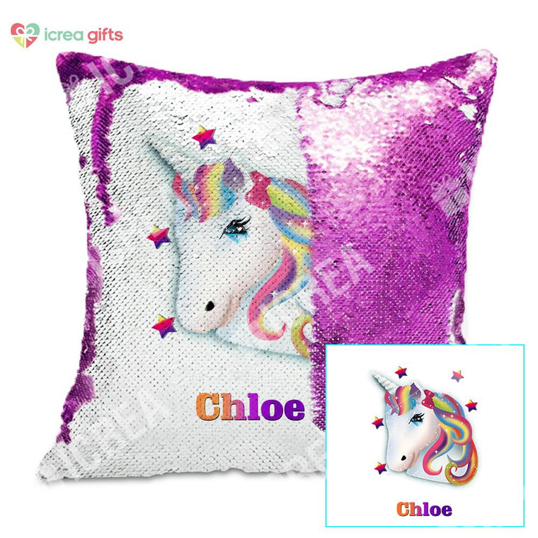 Personalized Rainbow Unicorn Sequin Pillow With Inner