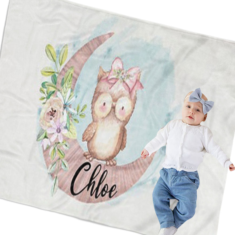 Personalized Owl Baby Name Blanket, Custom Owl Nursery Bedding