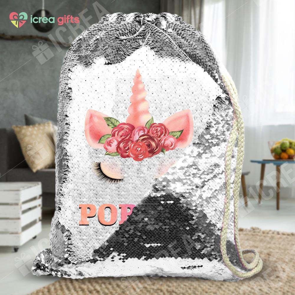 Personalized Floral Unicorn Drawstring Sequin Backpack