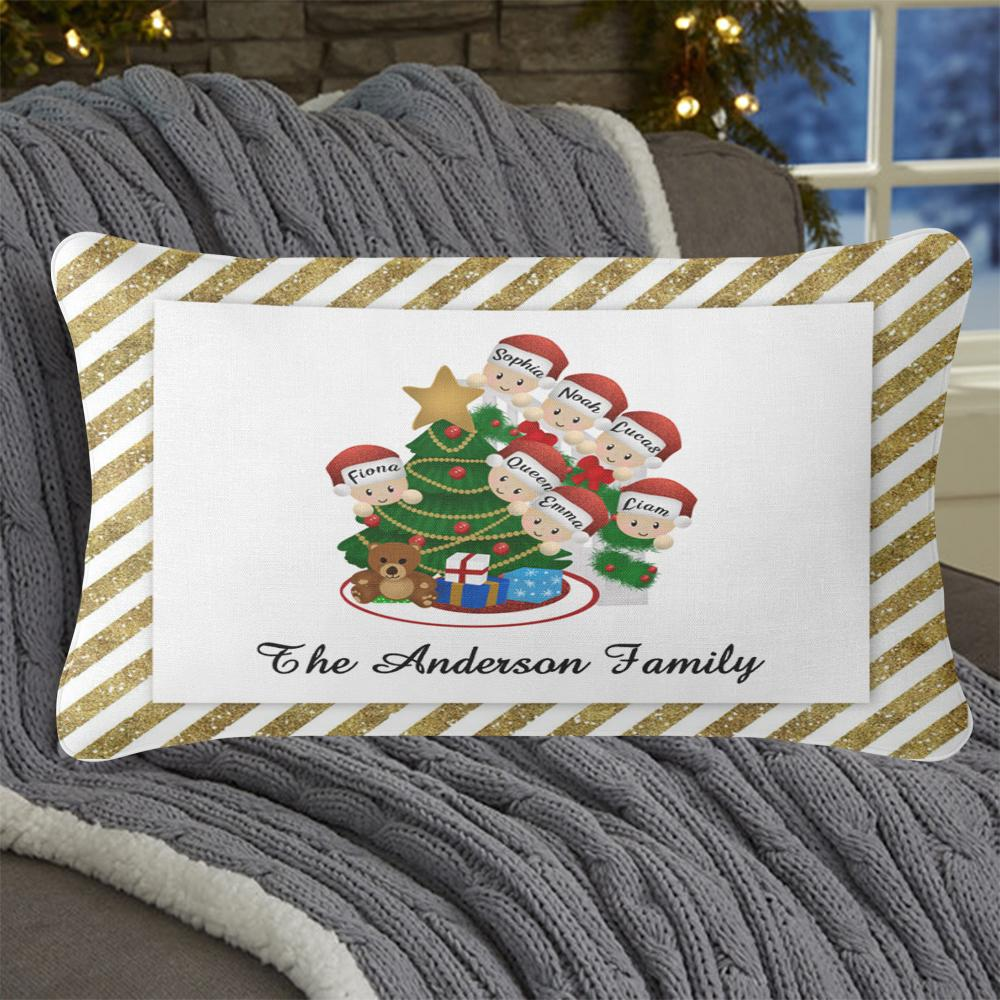 Personalized Christmas Tree and Hat Family Pillowcase With Name