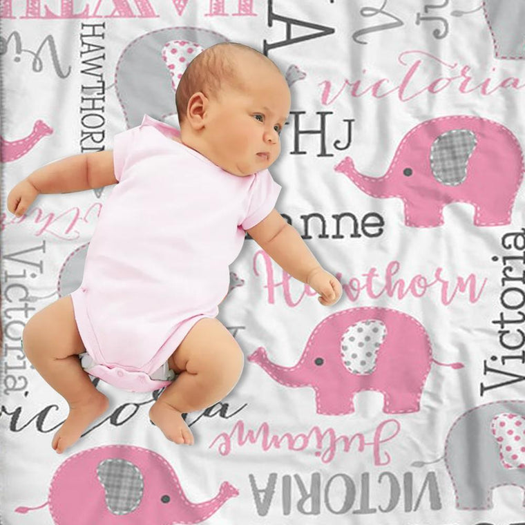 Personalized Pink & Gray Elephant Name Pattern Baby Blanket