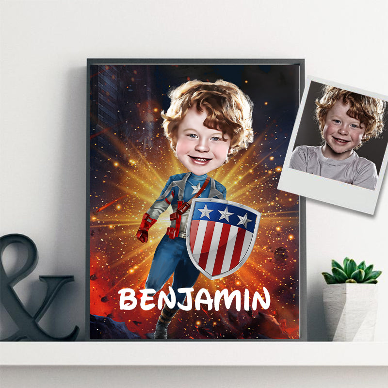 Personalized Hand-Drawing Kid's Photo Portrait Canvas Wall Art II
