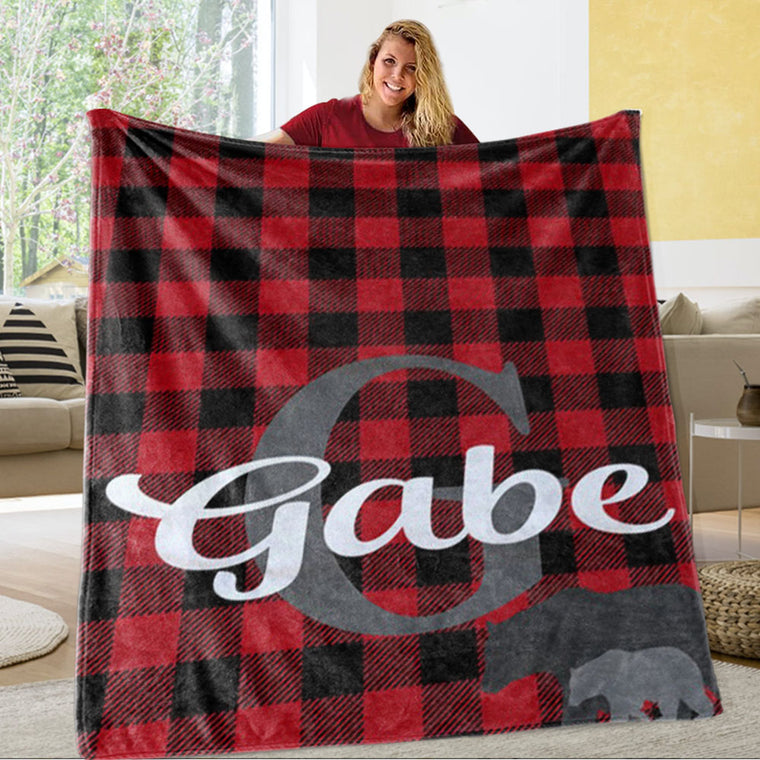 Personalized Red and Black Lattice Monogrammed Newborn Baby Name Blanket