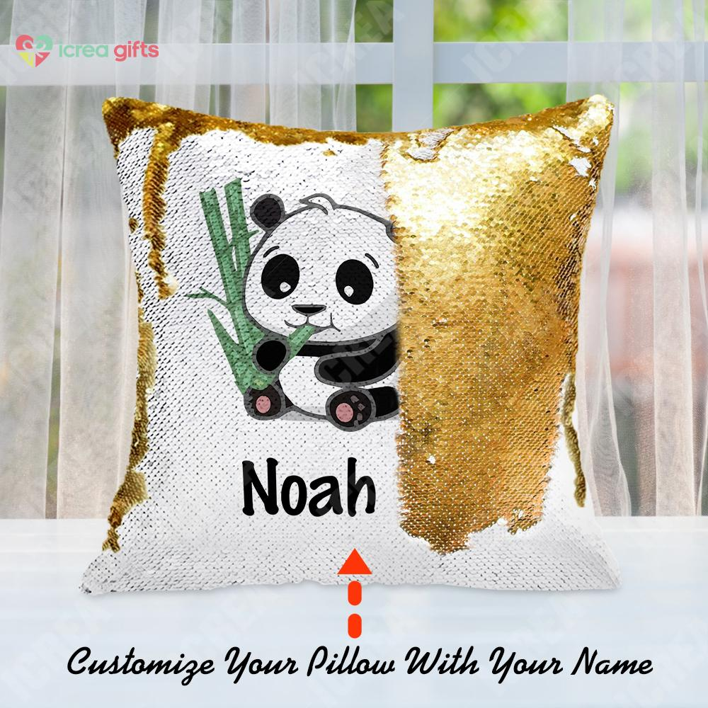 Personalized Giant Panda With Bamboo Sequin Pillow With Inner