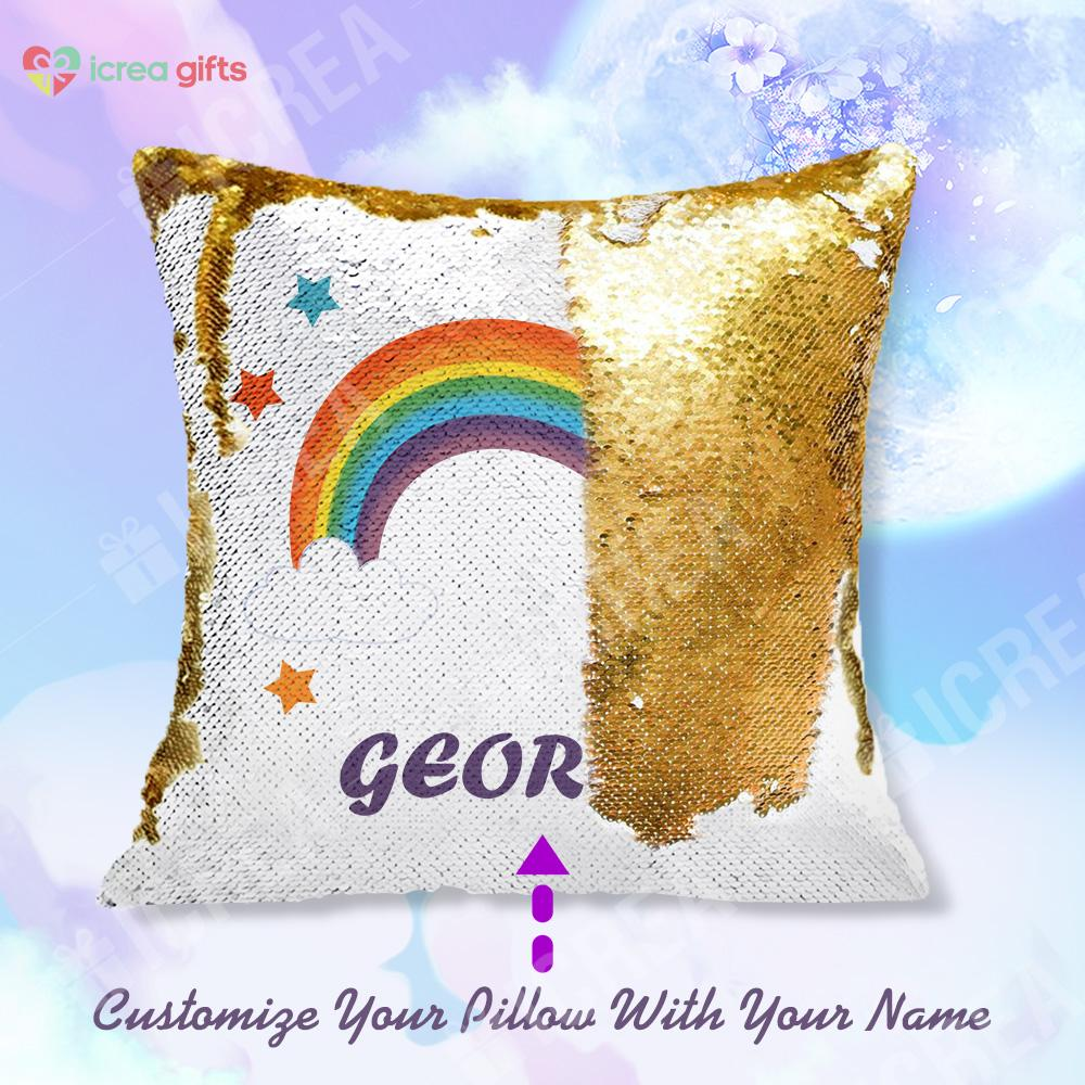 Personalized Rainbow Sequin Pillow With Inner
