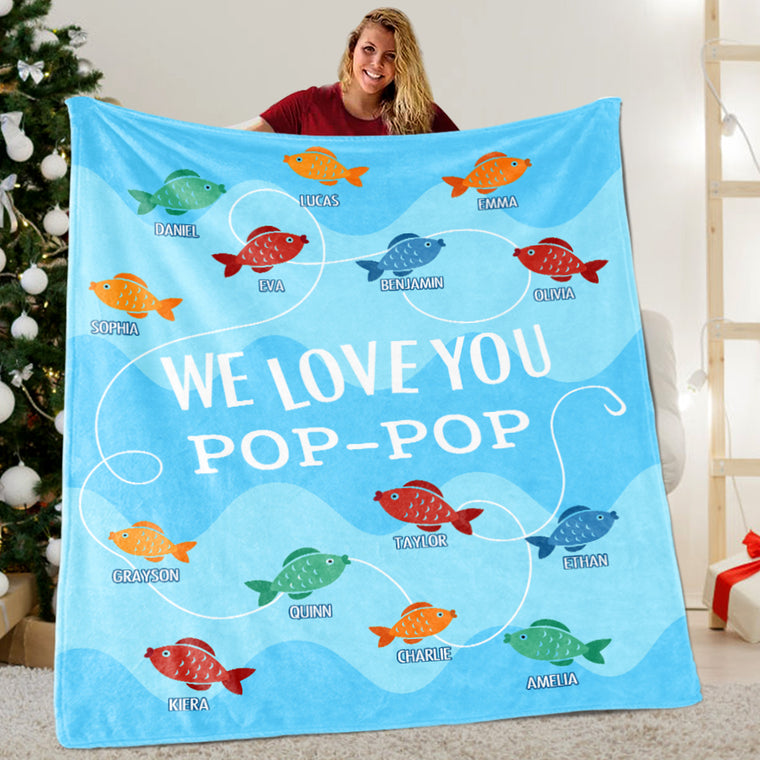 Custom Little Fish Grandparent Blanket with Kids' Names