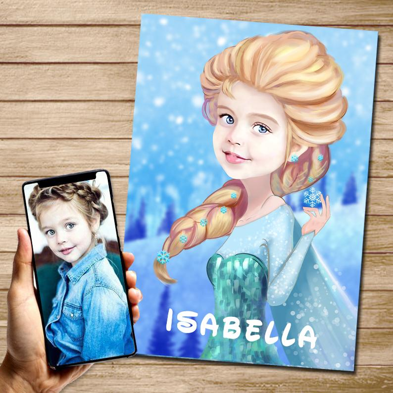 Personalized Hand-Drawing Kid's Photo Portrait Canvas Wall Art I